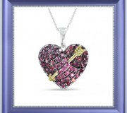 Garnet and Diamond Heart and Arrow Necklace
