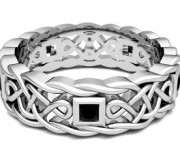 My Love Black Diamond Celtic Wedding Band