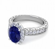 Blue sapphire and diamond ring with vintage detailing