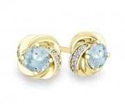 4 leaf, yellow gold, petal earrings set with aquamarine and diamonds