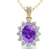 A pendant of diamonds clustered round a central amethyst.