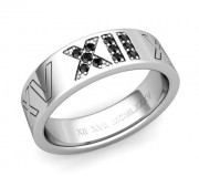 Pave set black diamond Roman Numeral Wedding Band